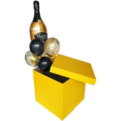 Коробка д/надутых шар 70х70х70см золотая