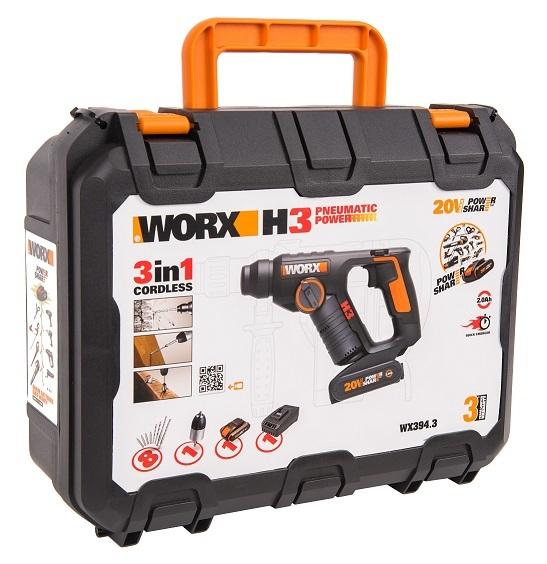 Перфоратор аккумуляторный WORX WX394.3, 20В 2Ач х1, ЗУ 2A, кейс