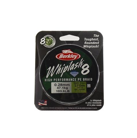 Плетеная леска Berkley Whiplash 8 Темно-зеленая 270 м. 0,28 мм. 47,1 кг. Green (1446666)