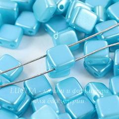 Бусина Tile mini Квадратная плоская с 2 отверстиями, 5 мм, пастельно- голубая
