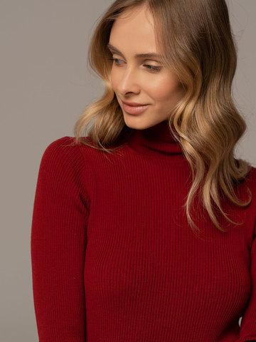 Женский свитер красного цвета из 100% шерсти - фото 4