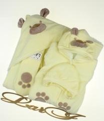 Зимний набор на выписку из роддома новорожденных Панда (лимонный)