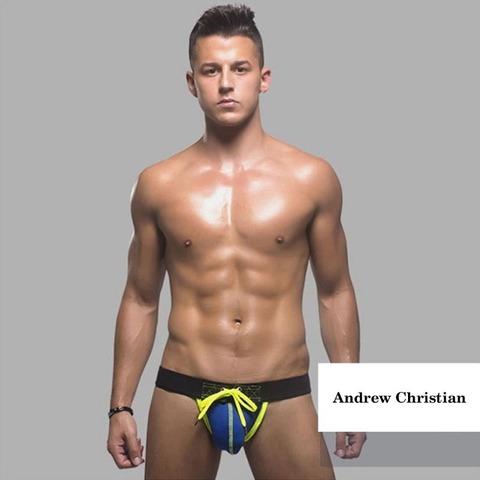 Мужские трусы Andrew Christian Jock Blue джоки синие с черной резинкой