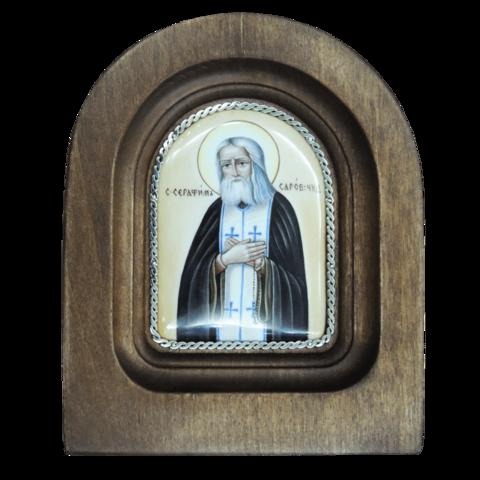Икона финифть Серафим Саровский деревянная арка