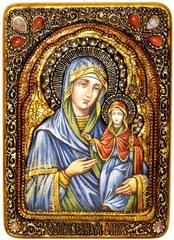 Инкрустированная живописная икона Святая праведная Анна, мать Пресвятой Богородицы 29х21см на натуральном кипарисе в подарочной коробке