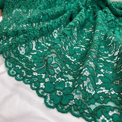 Ткань кружево кордовое цвет зеленый  3357
