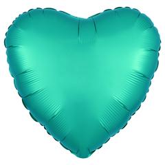 Шар сердце сатин зеленый