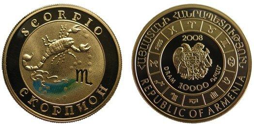 Знаки зодиака - Скорпион! Золотая монета 2008 года выпуска Армения 10000 драм , AU-900, 8,6 гр. диам. 22 мм, тир. 10000, пруф. 100% гарантия подлинности.