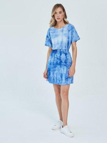 Платье для кормящих пояс-резинка Тай-дай Синий/Бел