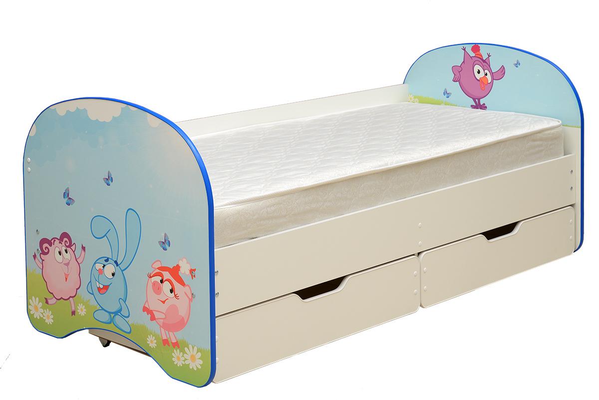 Кровать детская с фотопечатью Смешарики