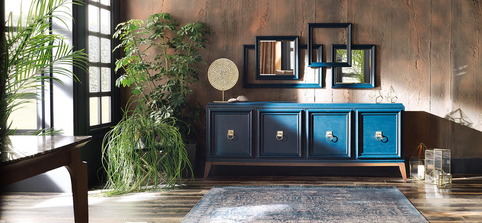 Буфет ELEGANTE Enza Home темно-синий и зеркало ELEGANTE темно-синий