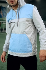 Ветровка-анорак серый-голубой