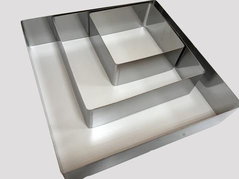 Набор квадратных форм для выкладки, выпекания  3 шт (10*10, 15*15, 20*20 H4.5см)