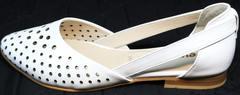 Красивые балетки из натуральной кожи Evromoda 286.85 Summer White.