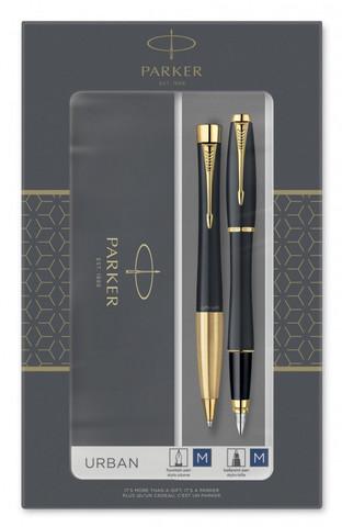 Набор подарочный Parker Urban Core - Muted Black GT, ручка перьевая+ручка шариковая