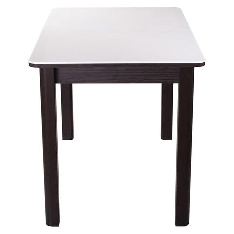 Стол РУМБА ПР-1 Камень 04 белый / подстолье венге / опора №04 венге / 120(157)х80см