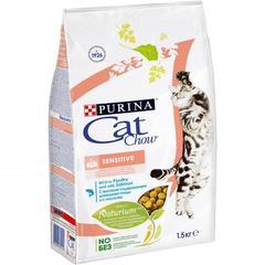 Корм для кошек, Purina Cat Chow Sensitive, с чувствительным пищеварением, с птицей и лососем