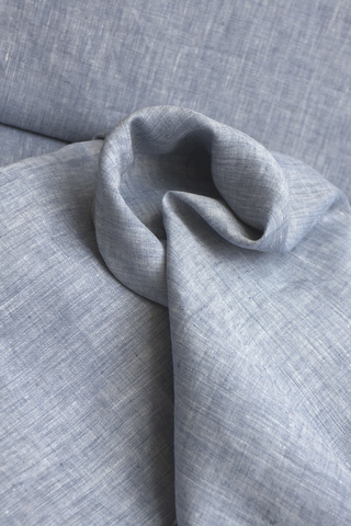 Ткань льняная, цвет джинс-меланж