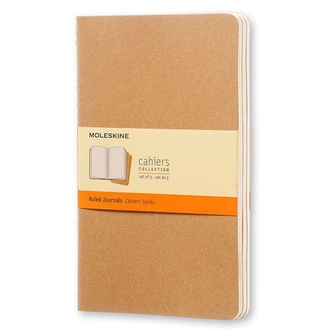 Блокнот Moleskine CAHIER JOURNAL QP416 Large 130х210мм обложка картон 80стр. линейка бежевый (3шт)