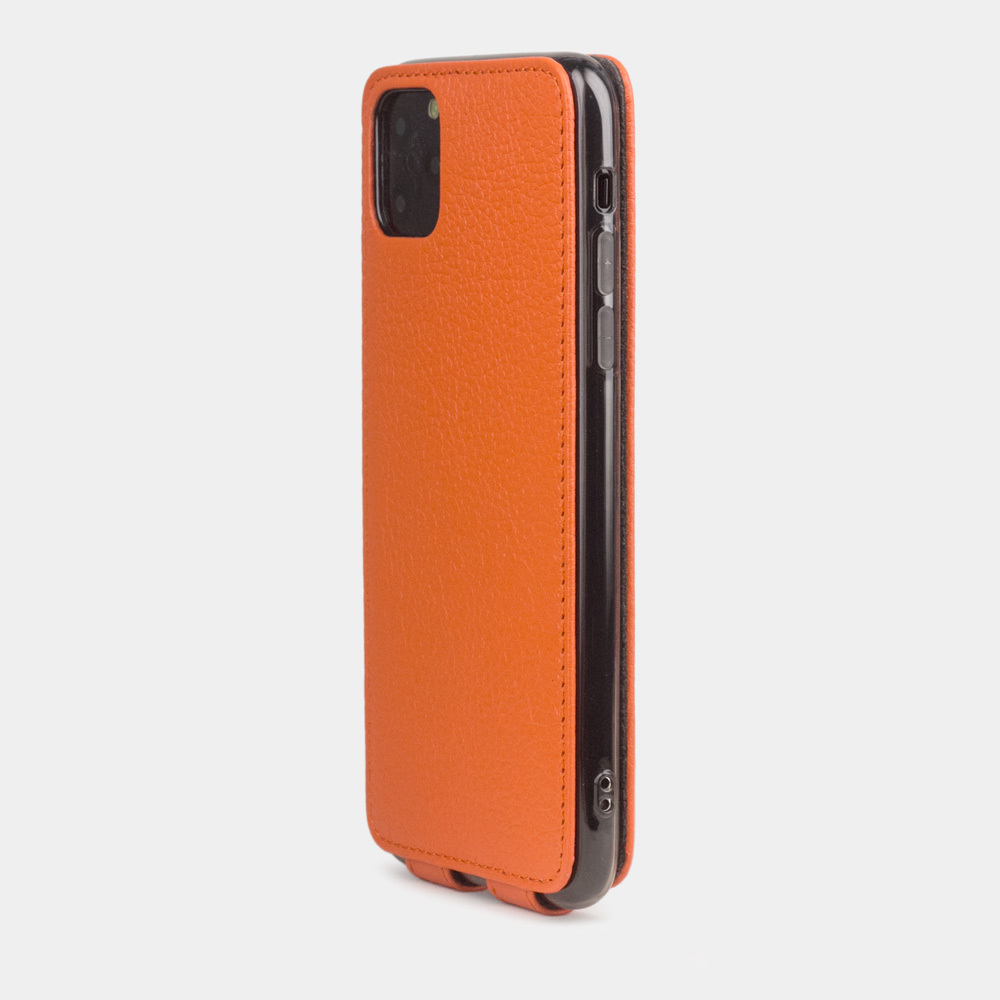 Чехол для iPhone 11 Pro Max из натуральной кожи теленка, оранжевого цвета