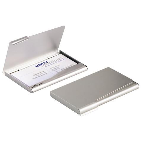 Визитница карманная Durable на 20 визиток из аллюминия серебристого цвета (2415)