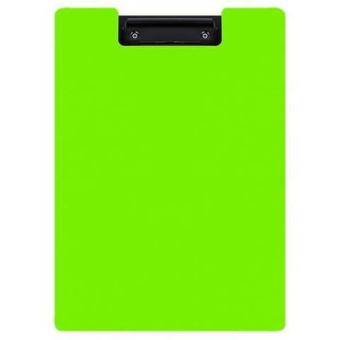 Планшет inФОРМАТ А4 вертик. пластик PP черно-зеленый с крышкой с зажимом