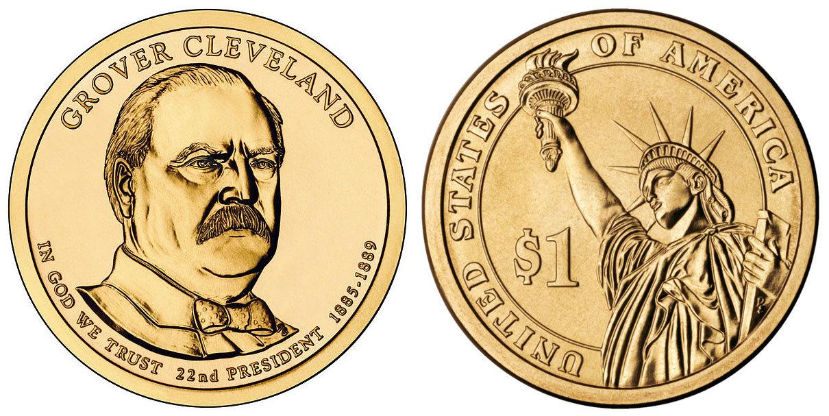 1 доллар 22-й президент США Гровер Кливленд 2012 год