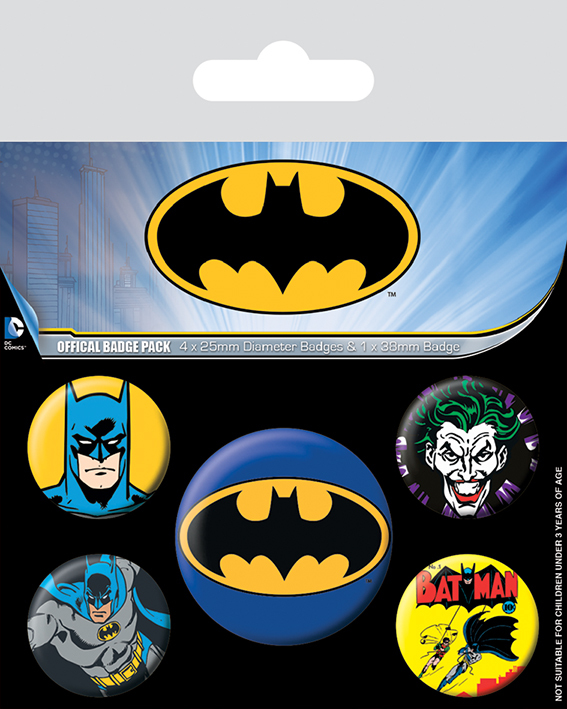 Набор значков «Бэтмен» (синее лого)