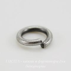 Винтажное колечко одинарное 8,4х1,5 мм (оксид серебра)