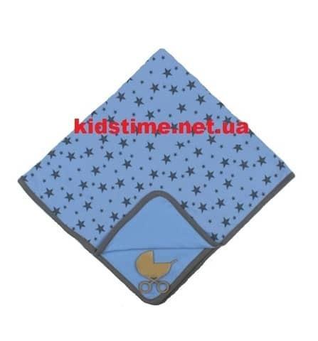 Трикотажный плед для новорожденного Звездопад голубой