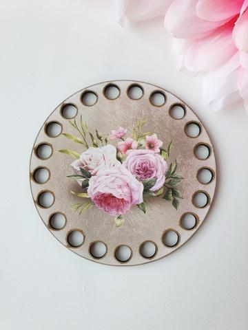 Круг диаметр 10 см, рисунок Розы на сером