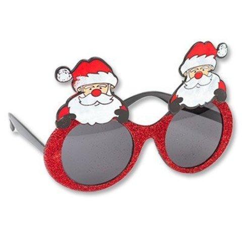 Очки Дед Мороз блеск красные/G