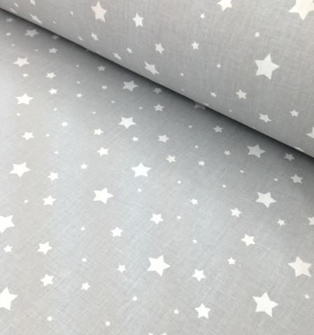 Ткань хлопковая белый звездопад на сером, отрез 50*80 см