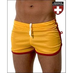 Мужские спортивные шорты Andrew Christian Retro Sports Mesh Gym Shorts Yellow  AC11