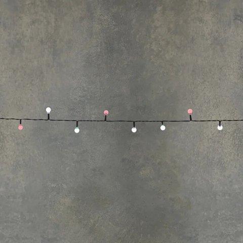 Гирлянда ягодки мультиколор на темном проводе на батарейках, таймер на отключение 6/18, для наружного и внутреннего использования