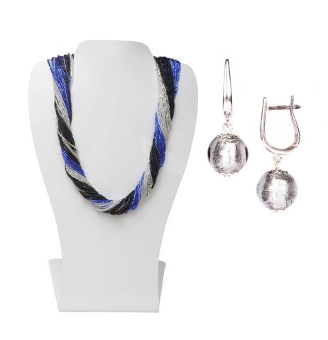 Комплект украшений черно-синий (серьги-бусины, ожерелье из бисера 36 нитей)