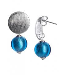 Серьги тренд металлические вставки голубые