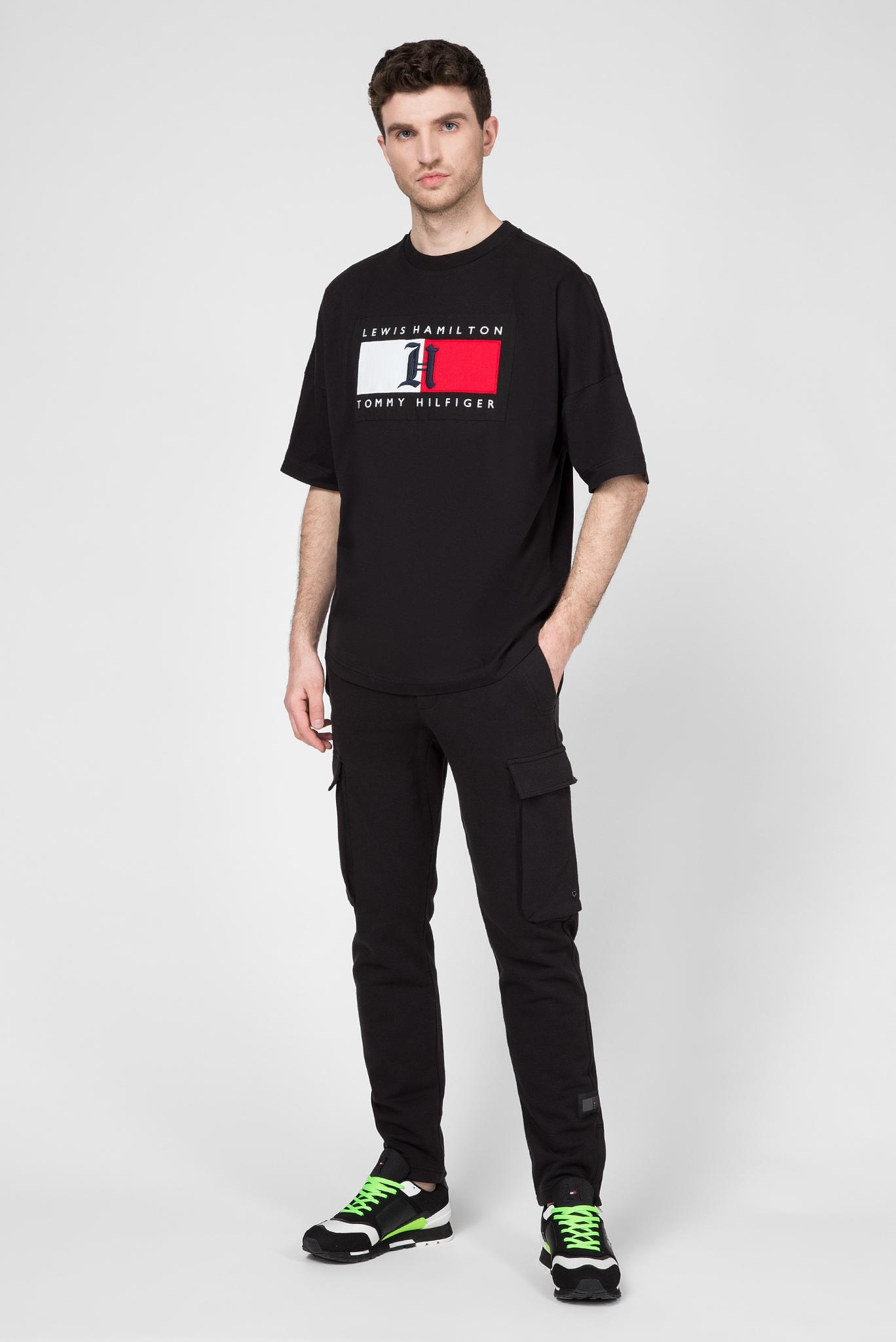 Мужская черная футболка Lewis Hamilton Tommy Hilfiger