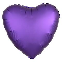 Шар сердце сатин фиолетовый