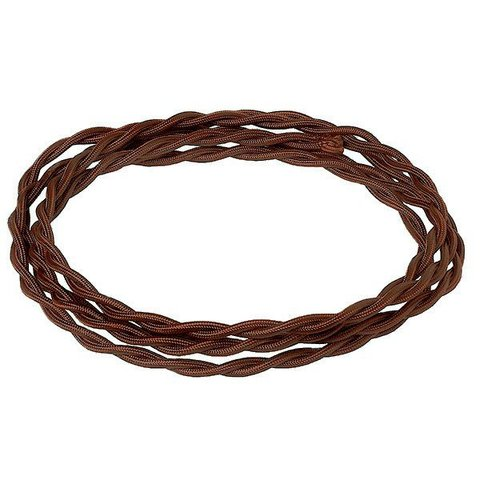 Кабель плетеный термостойкий сечение 3*1.5. Цвет Шоколад. Salvador. CHO/L 3*1.5
