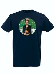 Футболка с принтом Фрида Кало (Frida Kahlo) темно-синяя 005