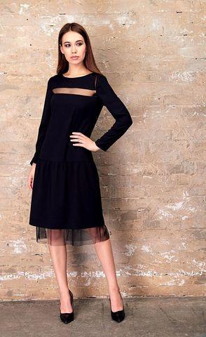 Фото чёрное платье с заниженной талией со вставкой на линии декольте из сеточки - Платье З333-393 (1)