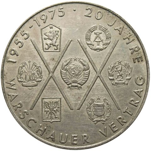 10 марок. 20 лет Варшавскому Договору. (A). Германия-ГДР. Медноникель. 1975 год.  XF