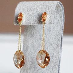 Позолоченные серьги с кристаллами Сваровски цвета шампанского