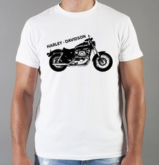 Футболка с принтом Harley-Davidson (Харли-Дэвидсон) белая 007