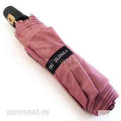 Зонтик автомат 3 Слона L3706 Эпонж пастельно-розовый с узорами