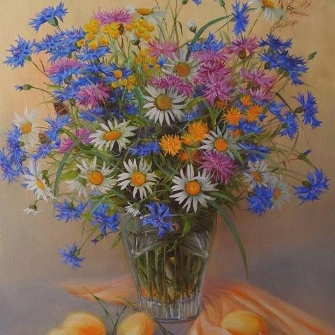 Картина раскраска по номерам 40x50 Натюрморт с абрикосами