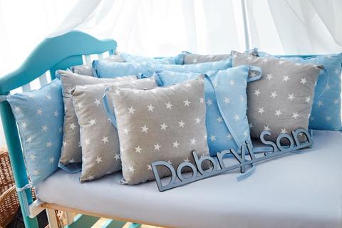 Защита со съемными наволочками в кроватку от комплекта Bravo 12 шт 3-03-1 Серо-голубая звезда