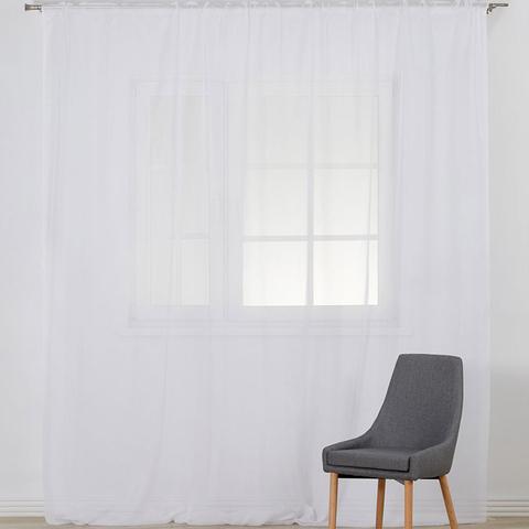 Тюль креп-шифон на шторной ленте. Белый холодный. оптом. Арт. 1/1