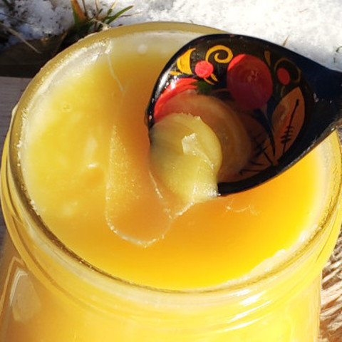 Мёд натуральный цветочный конец лета 2020 Ивановка 440 г в стеклянной баночке Мишка
